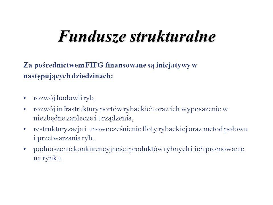 Fundusze strukturalne Za pośrednictwem FIFG finansowane są inicjatywy w następujących dziedzinach: rozwój hodowli ryb, rozwój infrastruktury portów ry