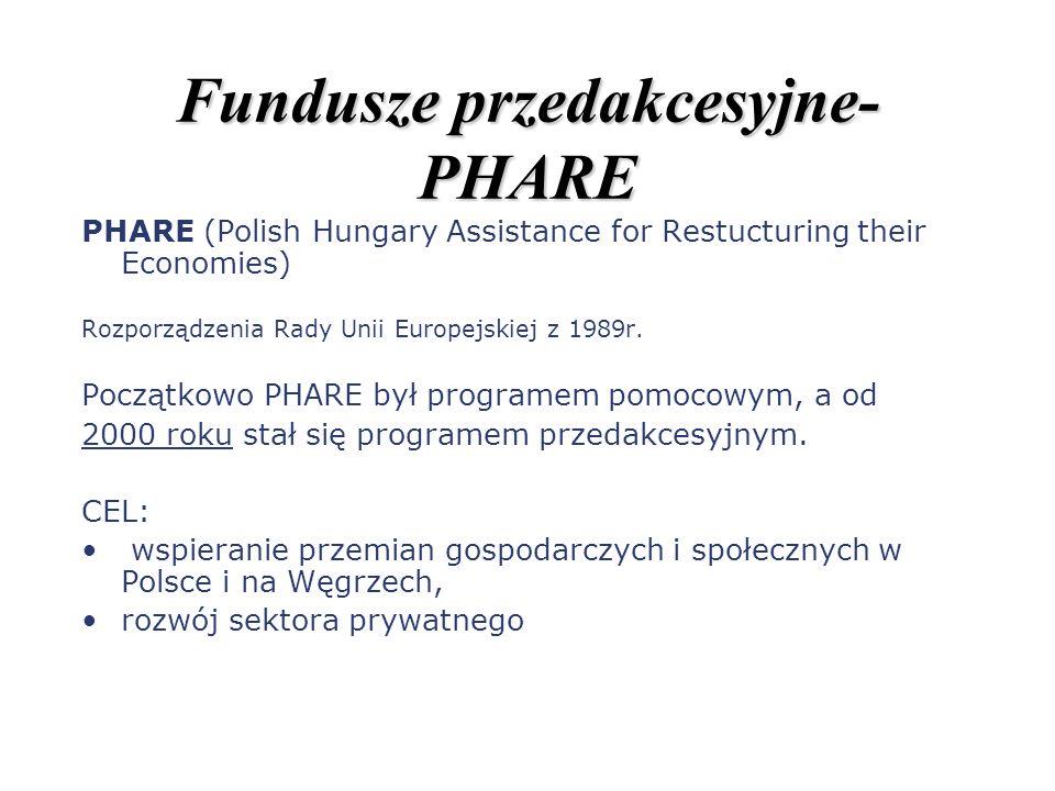 Fundusze przedakcesyjne- PHARE PHARE (Polish Hungary Assistance for Restucturing their Economies) Rozporządzenia Rady Unii Europejskiej z 1989r. Począ