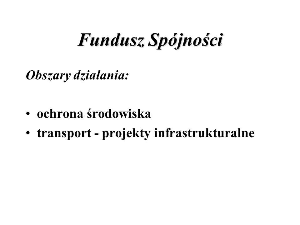 Fundusz Spójności Obszary działania: ochrona środowiska transport - projekty infrastrukturalne