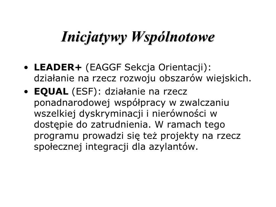 Inicjatywy Wspólnotowe LEADER+ (EAGGF Sekcja Orientacji): działanie na rzecz rozwoju obszarów wiejskich. EQUAL (ESF): działanie na rzecz ponadnarodowe