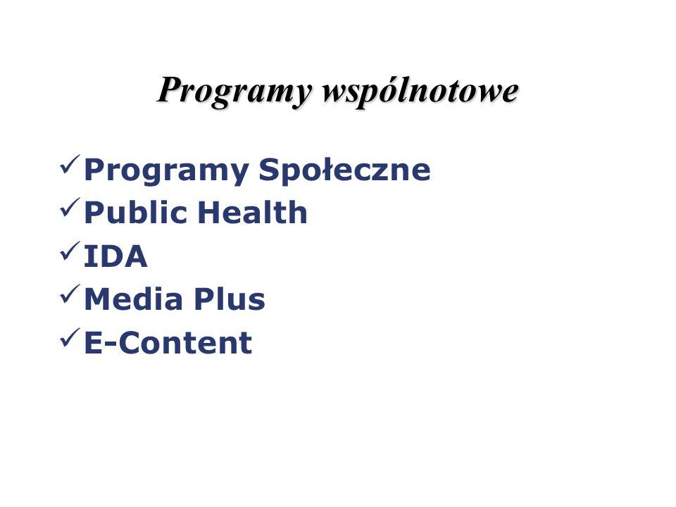 Programy wspólnotowe Programy Społeczne Public Health IDA Media Plus E-Content
