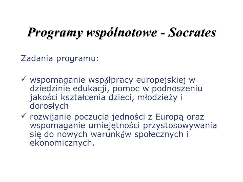Programy wspólnotowe - Socrates Zadania programu: wspomaganie współpracy europejskiej w dziedzinie edukacji, pomoc w podnoszeniu jakości kształcenia d