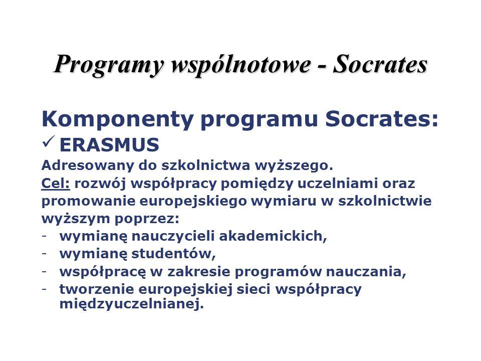 Programy wspólnotowe - Socrates Komponenty programu Socrates: ERASMUS Adresowany do szkolnictwa wyższego. Cel: rozwój współpracy pomiędzy uczelniami o