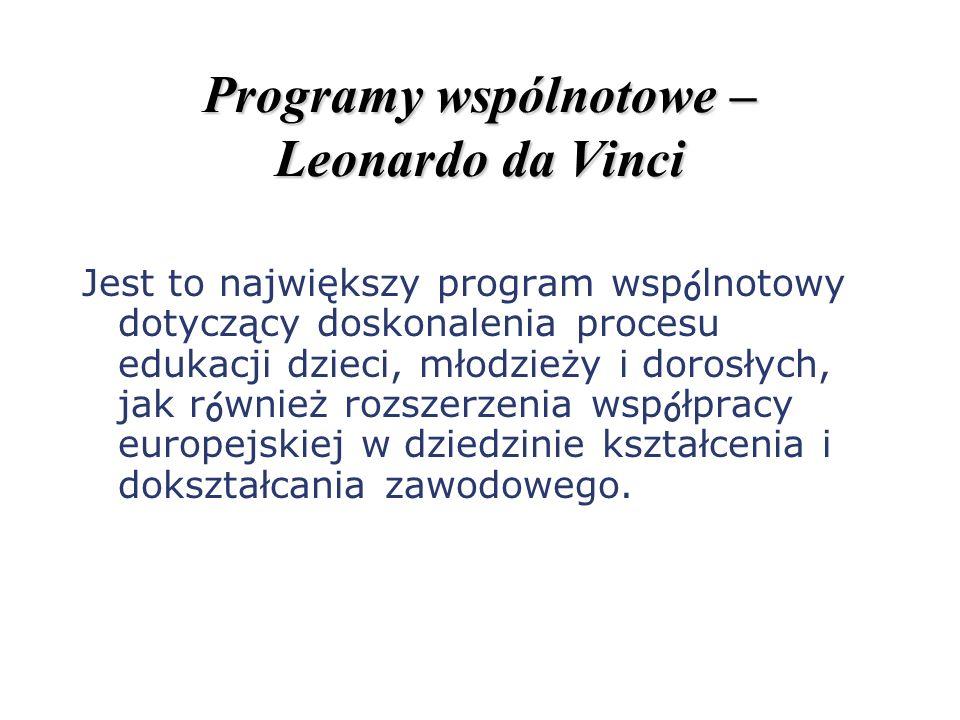 Programy wspólnotowe – Leonardo da Vinci Jest to największy program wspólnotowy dotyczący doskonalenia procesu edukacji dzieci, młodzieży i dorosłych,