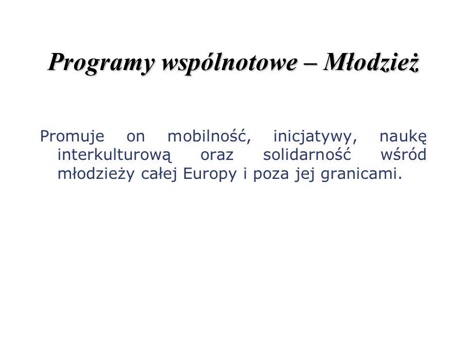 Programy wspólnotowe – Młodzież Promuje on mobilność, inicjatywy, naukę interkulturową oraz solidarność wśród młodzieży całej Europy i poza jej granic