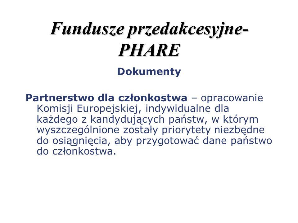 Fundusze przedakcesyjne- PHARE Dokumenty Partnerstwo dla członkostwa – opracowanie Komisji Europejskiej, indywidualne dla każdego z kandydujących pańs