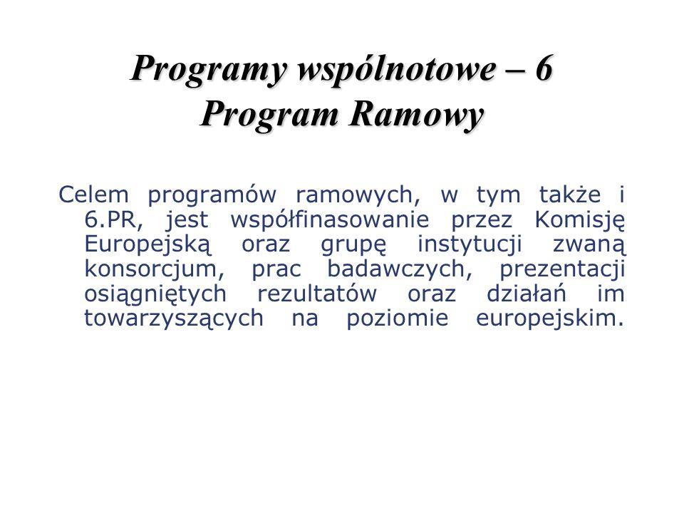 Programy wspólnotowe – 6 Program Ramowy Celem programów ramowych, w tym także i 6.PR, jest współfinasowanie przez Komisję Europejską oraz grupę instyt