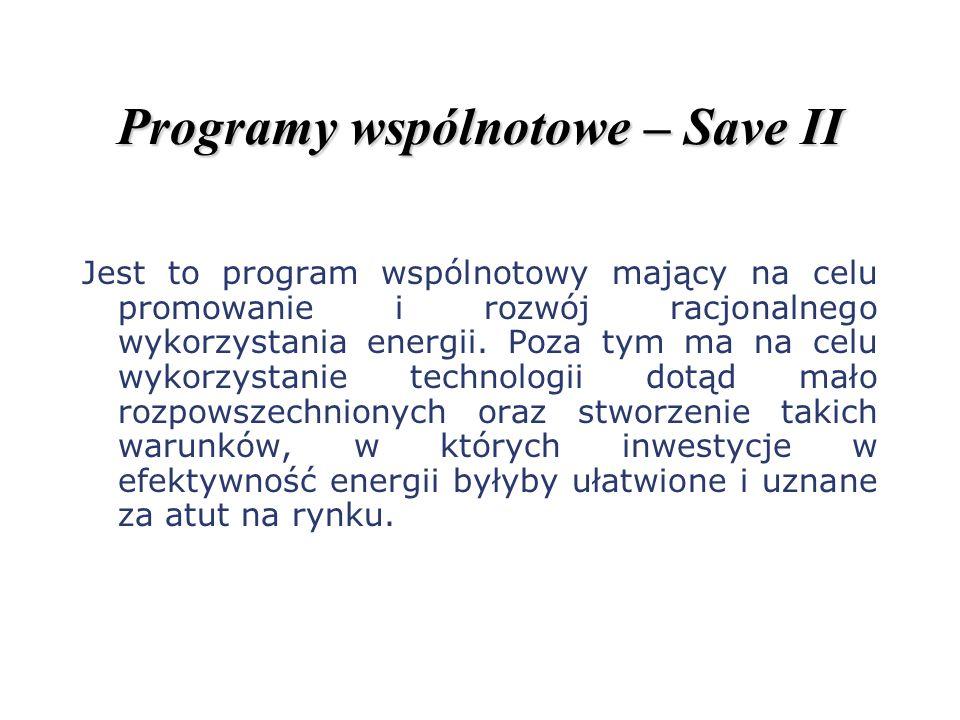 Programy wspólnotowe – Save II Jest to program wspólnotowy mający na celu promowanie i rozwój racjonalnego wykorzystania energii. Poza tym ma na celu