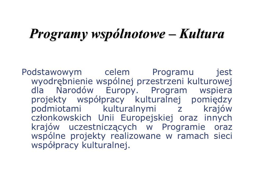 Programy wspólnotowe – Kultura Podstawowym celem Programu jest wyodrębnienie wspólnej przestrzeni kulturowej dla Narodów Europy. Program wspiera proje
