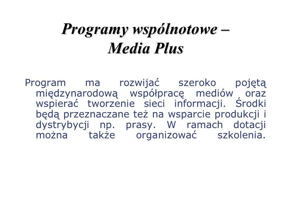 Programy wspólnotowe – Media Plus Program ma rozwijać szeroko pojętą międzynarodową współpracę mediów oraz wspierać tworzenie sieci informacji. Środki
