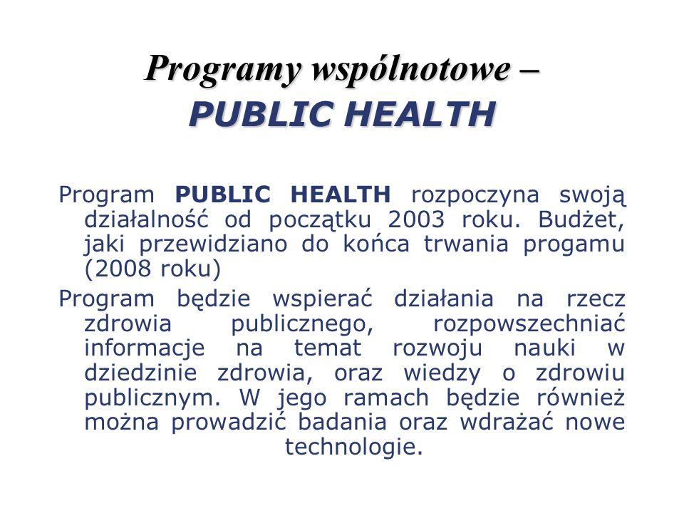 Programy wspólnotowe – PUBLIC HEALTH Program PUBLIC HEALTH rozpoczyna swoją działalność od początku 2003 roku. Budżet, jaki przewidziano do końca trwa