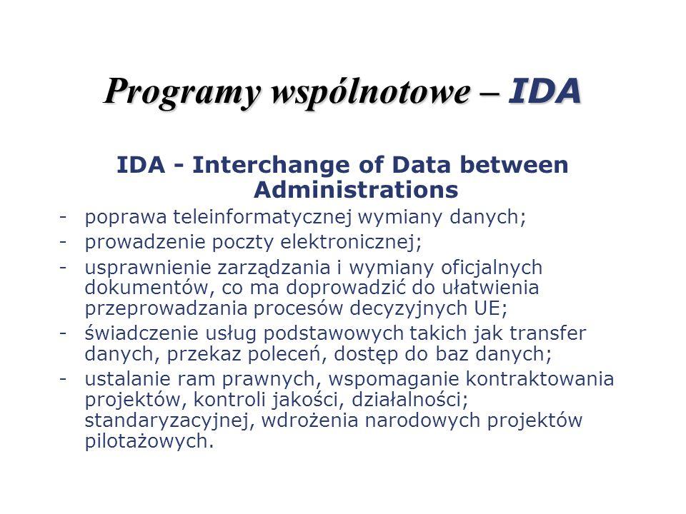 Programy wspólnotowe – IDA IDA - Interchange of Data between Administrations -poprawa teleinformatycznej wymiany danych; -prowadzenie poczty elektroni