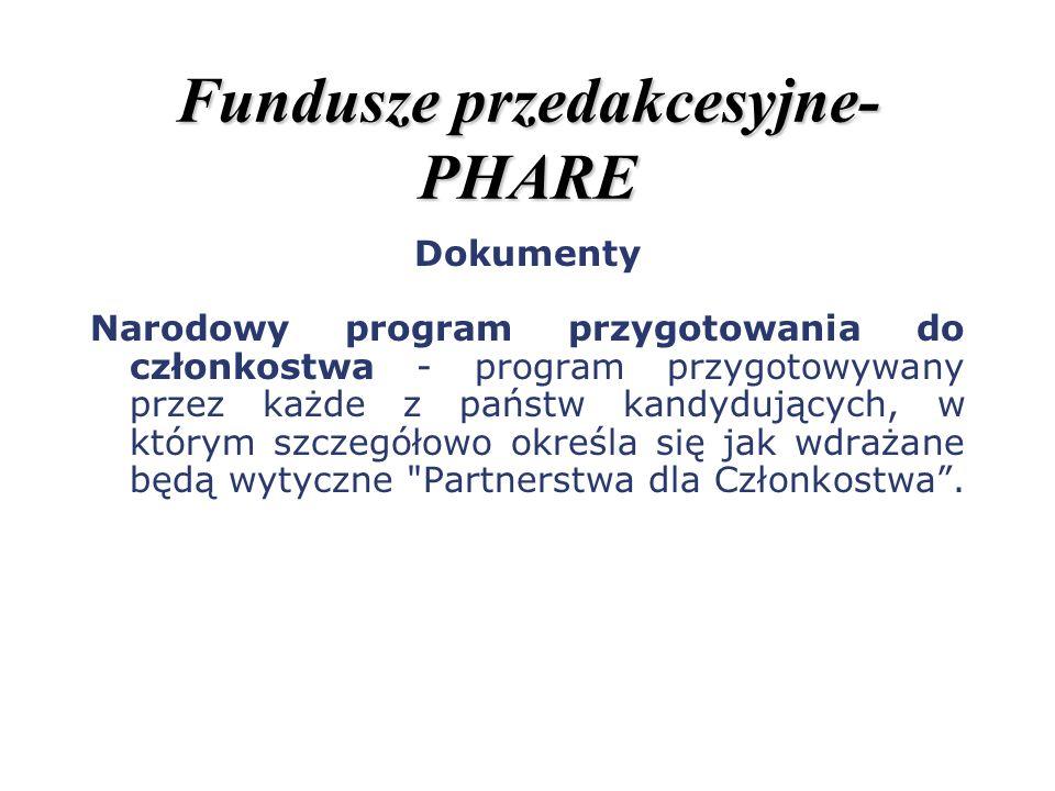 Fundusze przedakcesyjne- PHARE Dokumenty Narodowy program przygotowania do członkostwa - program przygotowywany przez każde z państw kandydujących, w