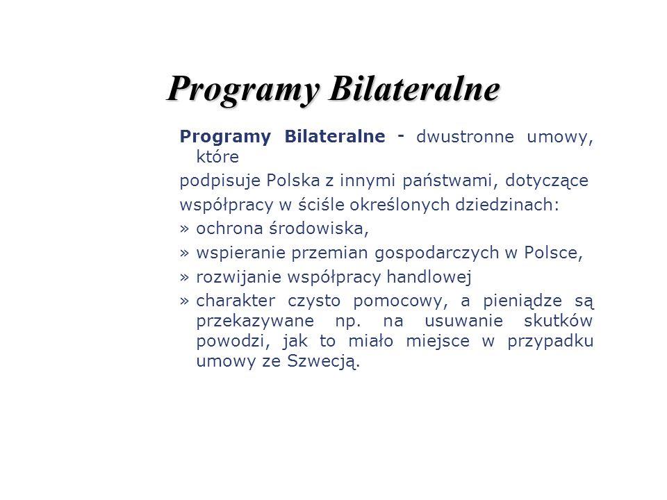 Programy Bilateralne Programy Bilateralne - dwustronne umowy, które podpisuje Polska z innymi państwami, dotyczące współpracy w ściśle określonych dzi