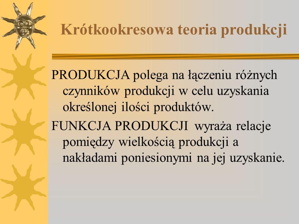 Krótkookresowa teoria produkcji PRODUKCJA polega na łączeniu różnych czynników produkcji w celu uzyskania określonej ilości produktów. FUNKCJA PRODUKC