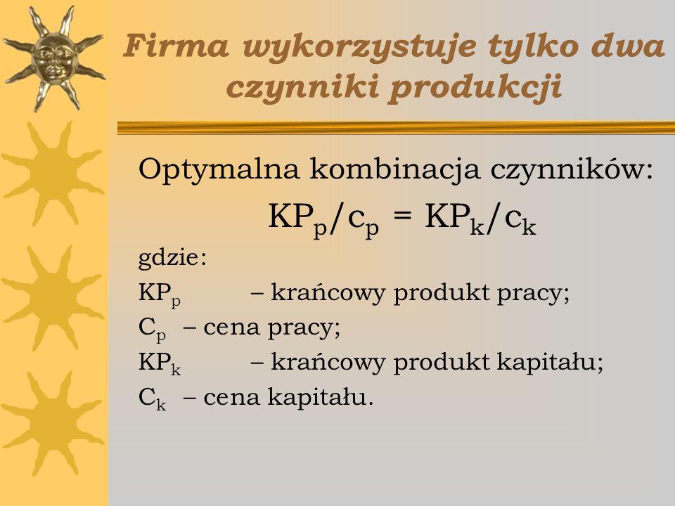 Firma wykorzystuje tylko dwa czynniki produkcji Optymalna kombinacja czynników: KP p /c p = KP k /c k gdzie: KP p – krańcowy produkt pracy; C p – cena