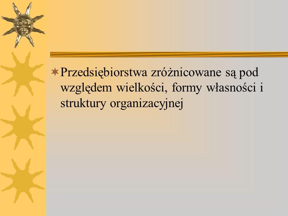 Podział przedsiębiorstw ze względu na formę własności Przedsiębiorstwa prywatne (spółki prawa handlowego); Spółdzielcze; Państwowe; Komunalne.
