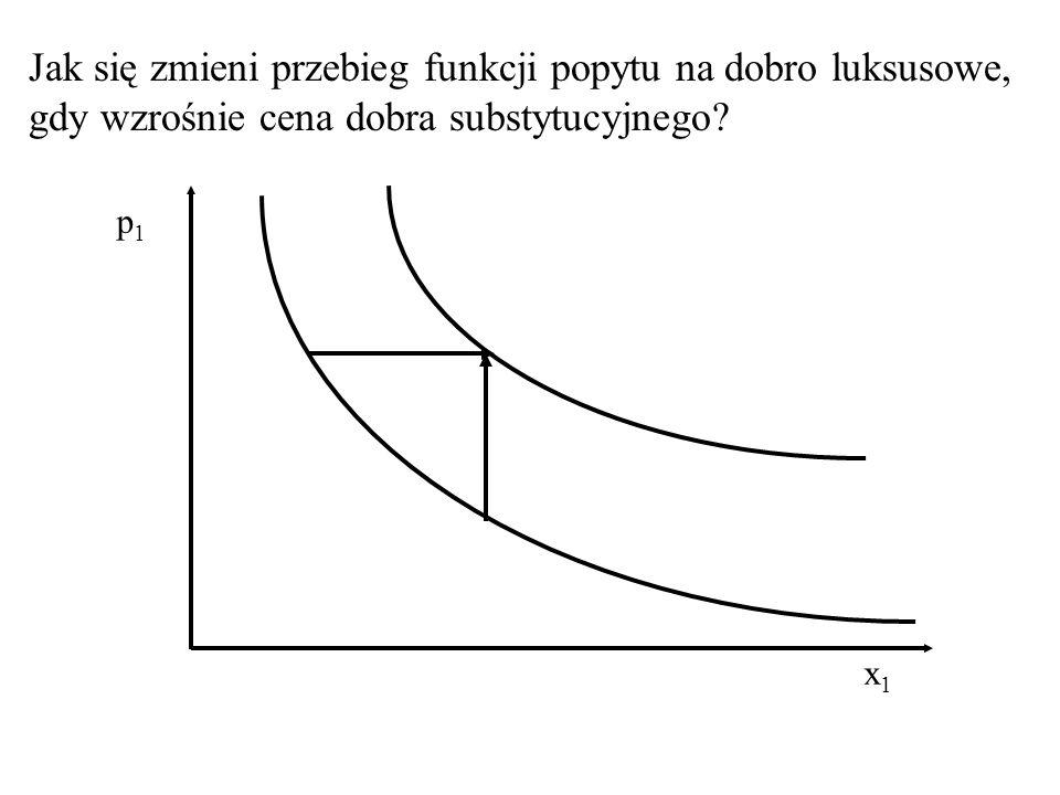Jak się zmieni przebieg funkcji popytu na dobro luksusowe, gdy wzrośnie dochód nabywców? x1x1 p1p1