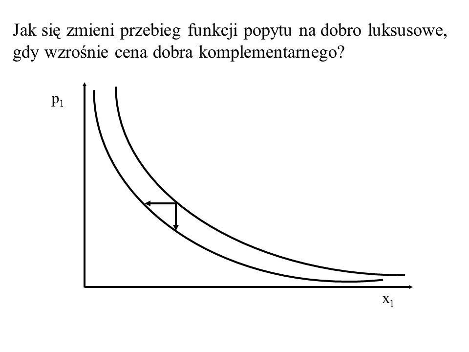 Jak się zmieni przebieg funkcji popytu na dobro luksusowe, gdy wzrośnie cena dobra substytucyjnego? x1x1 p1p1