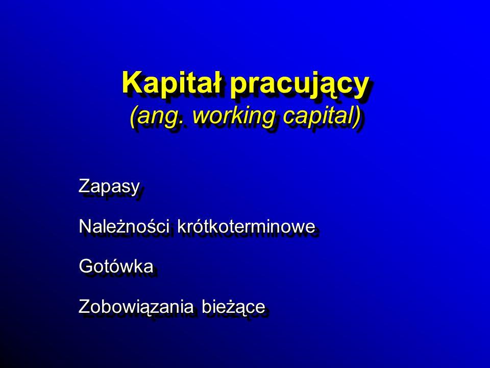 Kapitał pracujący (ang. working capital) Zapasy Należności krótkoterminowe Gotówka Zobowiązania bieżące Zapasy Należności krótkoterminowe Gotówka Zobo