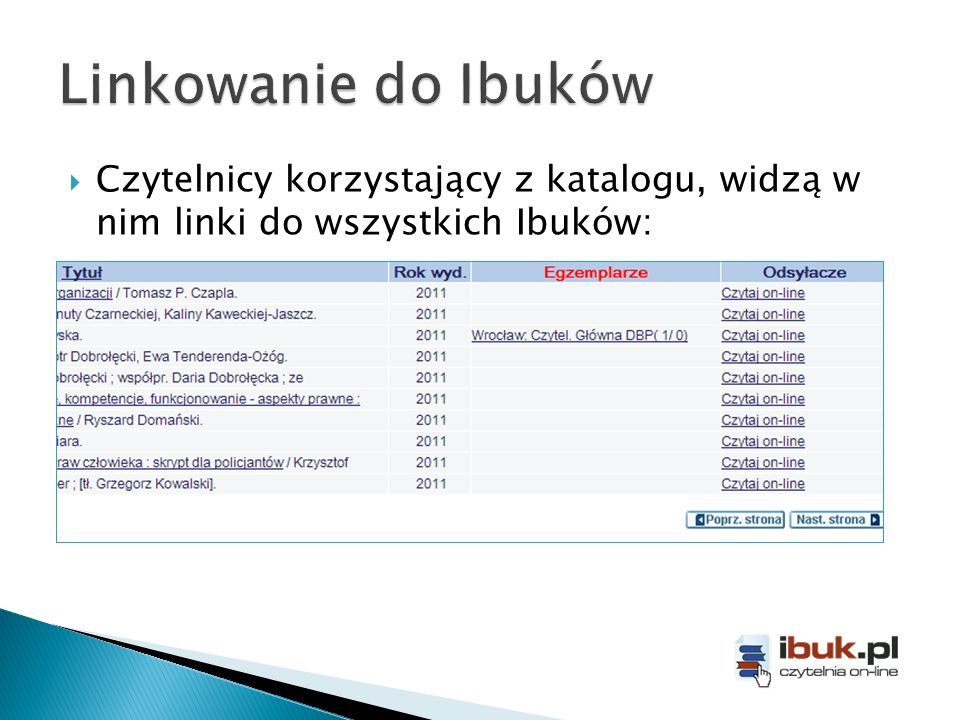 Czytelnicy korzystający z katalogu, widzą w nim linki do wszystkich Ibuków: