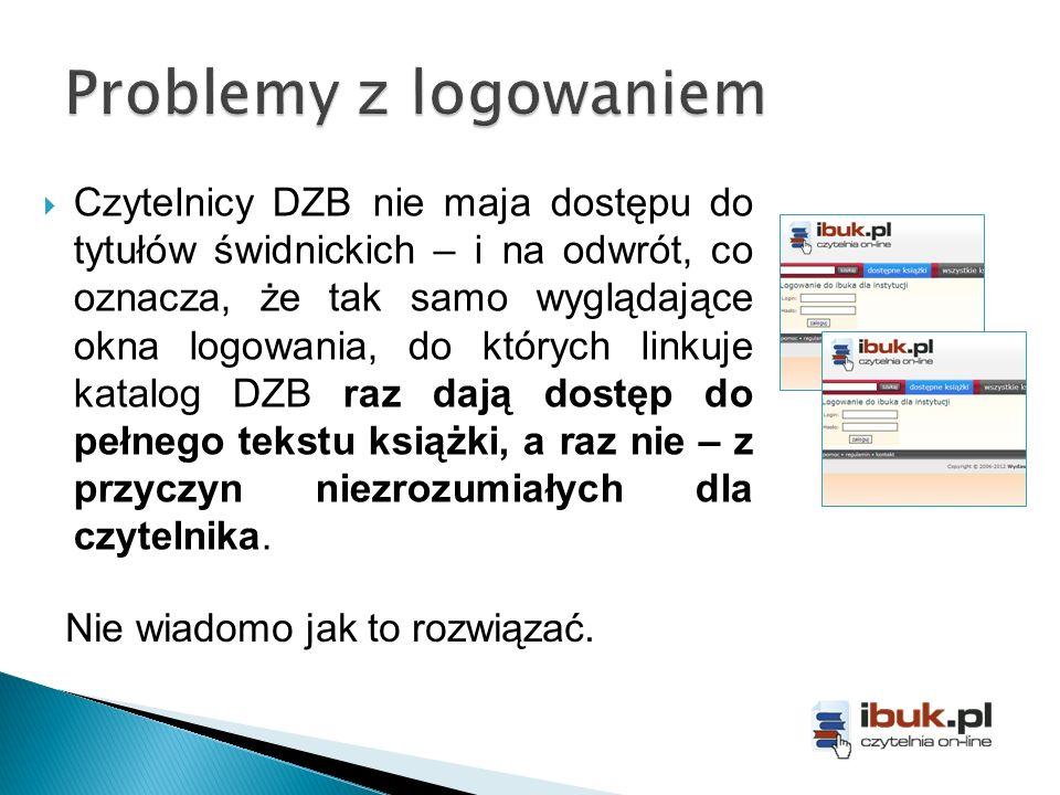 Czytelnicy DZB nie maja dostępu do tytułów świdnickich – i na odwrót, co oznacza, że tak samo wyglądające okna logowania, do których linkuje katalog D