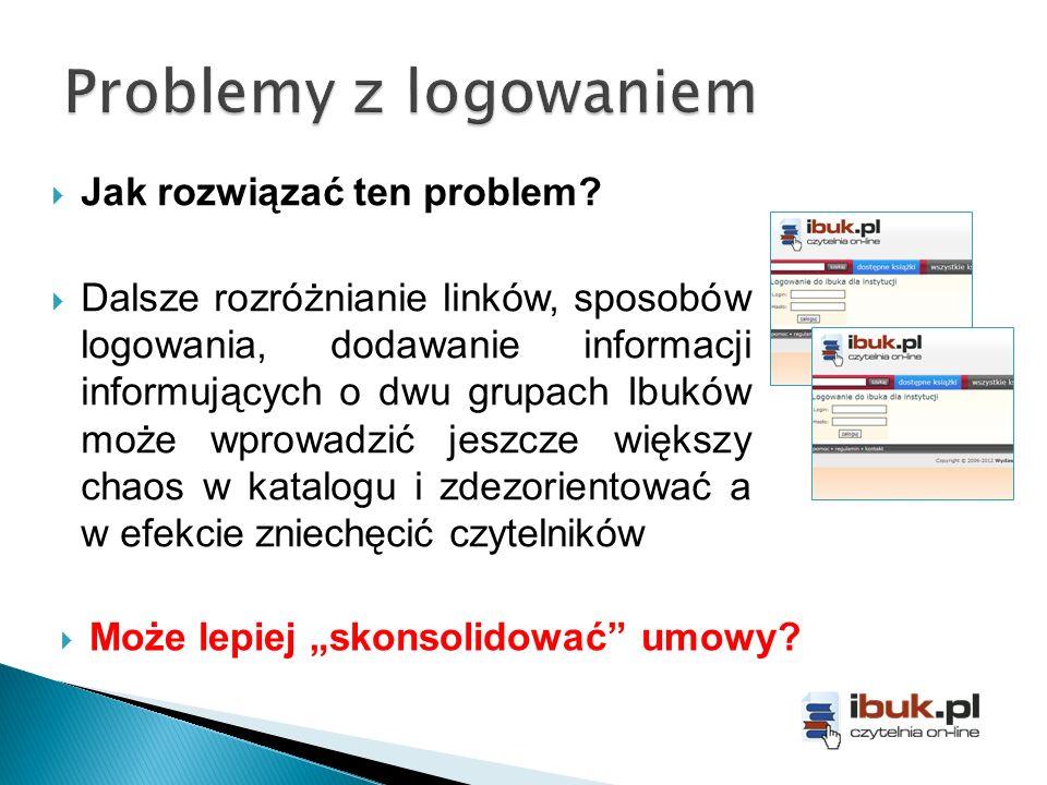 Jak rozwiązać ten problem? Dalsze rozróżnianie linków, sposobów logowania, dodawanie informacji informujących o dwu grupach Ibuków może wprowadzić jes