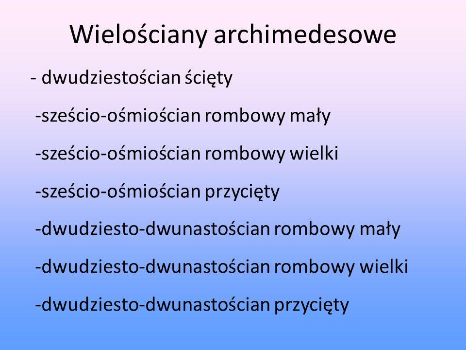 Wielościany archimedesowe - dwudziestościan ścięty -sześcio-ośmiościan rombowy mały -sześcio-ośmiościan rombowy wielki -sześcio-ośmiościan przycięty -