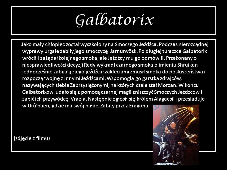 Galbatorix Galbatorix Jako mały chłopiec został wyszkolony na Smoczego Jeźdźca. Podczas nierozsądnej wyprawy urgale zabiły jego smoczycę Jarnunvösk. P
