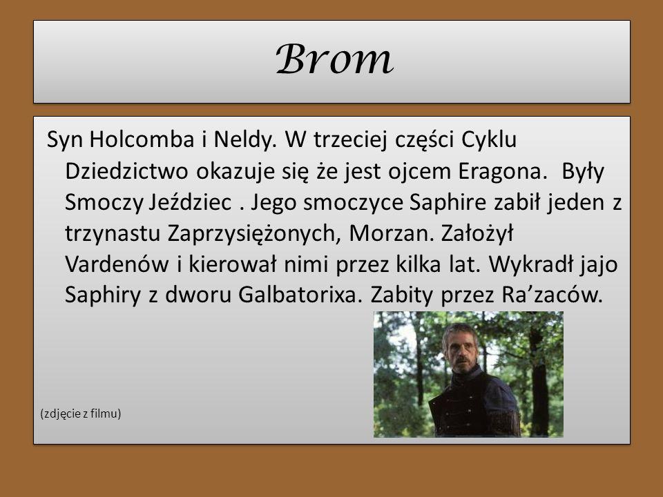 Brom Syn Holcomba i Neldy. W trzeciej części Cyklu Dziedzictwo okazuje się że jest ojcem Eragona. Były Smoczy Jeździec. Jego smoczyce Saphire zabił je