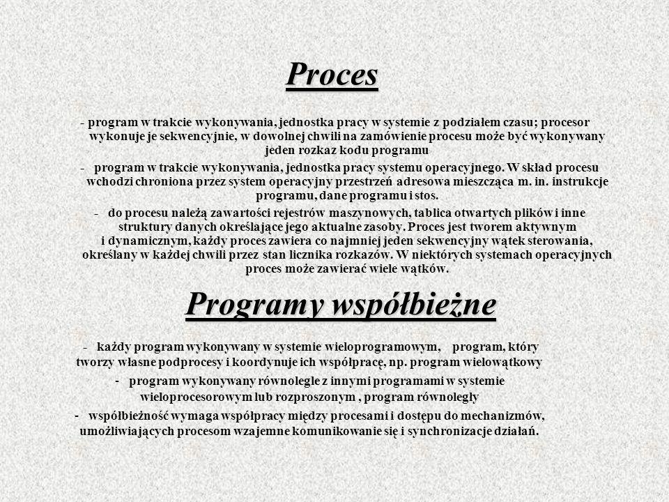 Proces - program w trakcie wykonywania, jednostka pracy w systemie z podziałem czasu; procesor wykonuje je sekwencyjnie, w dowolnej chwili na zamówien
