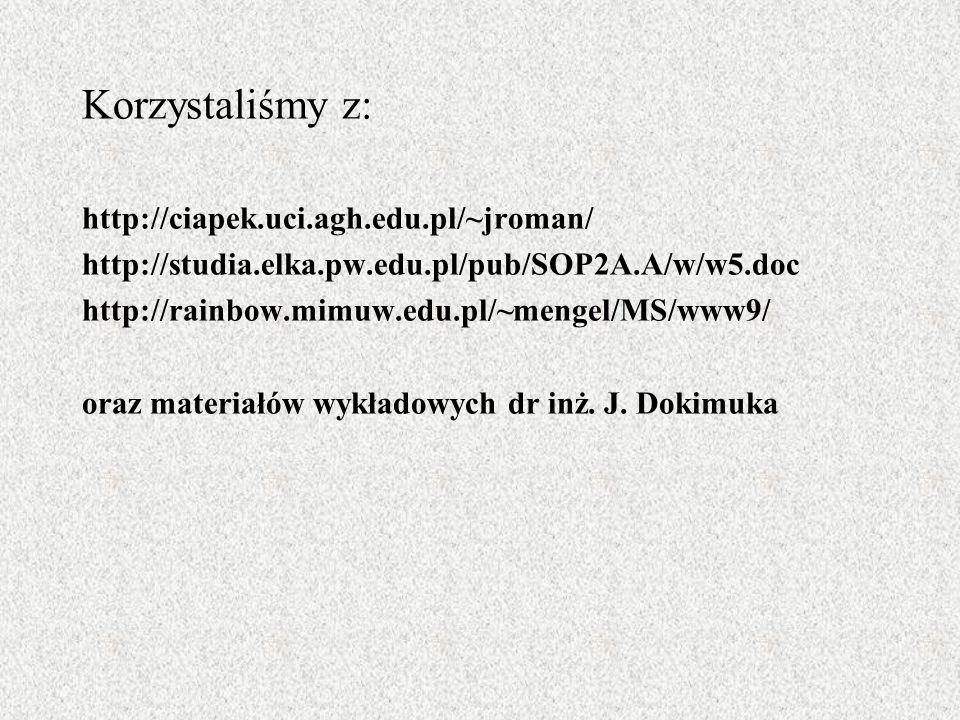 Korzystaliśmy z: http://ciapek.uci.agh.edu.pl/~jroman/ http://studia.elka.pw.edu.pl/pub/SOP2A.A/w/w5.doc http://rainbow.mimuw.edu.pl/~mengel/MS/www9/