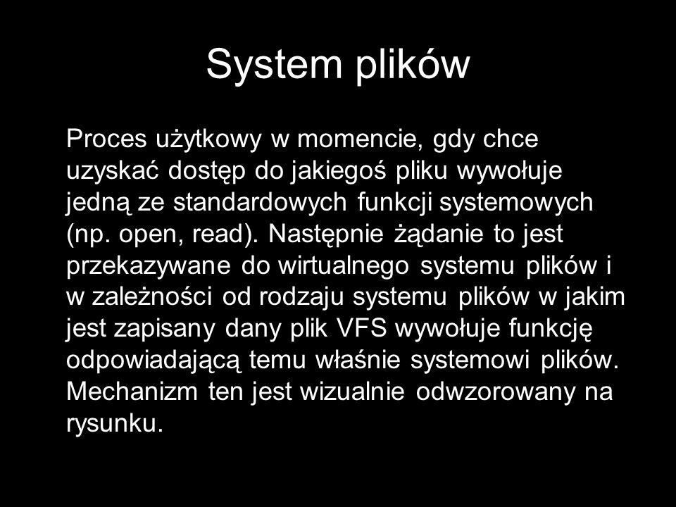 Proces użytkowy w momencie, gdy chce uzyskać dostęp do jakiegoś pliku wywołuje jedną ze standardowych funkcji systemowych (np. open, read). Następnie