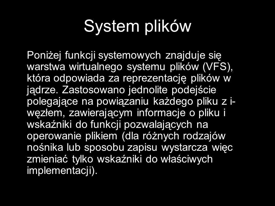System plików Poniżej funkcji systemowych znajduje się warstwa wirtualnego systemu plików (VFS), która odpowiada za reprezentację plików w jądrze. Zas