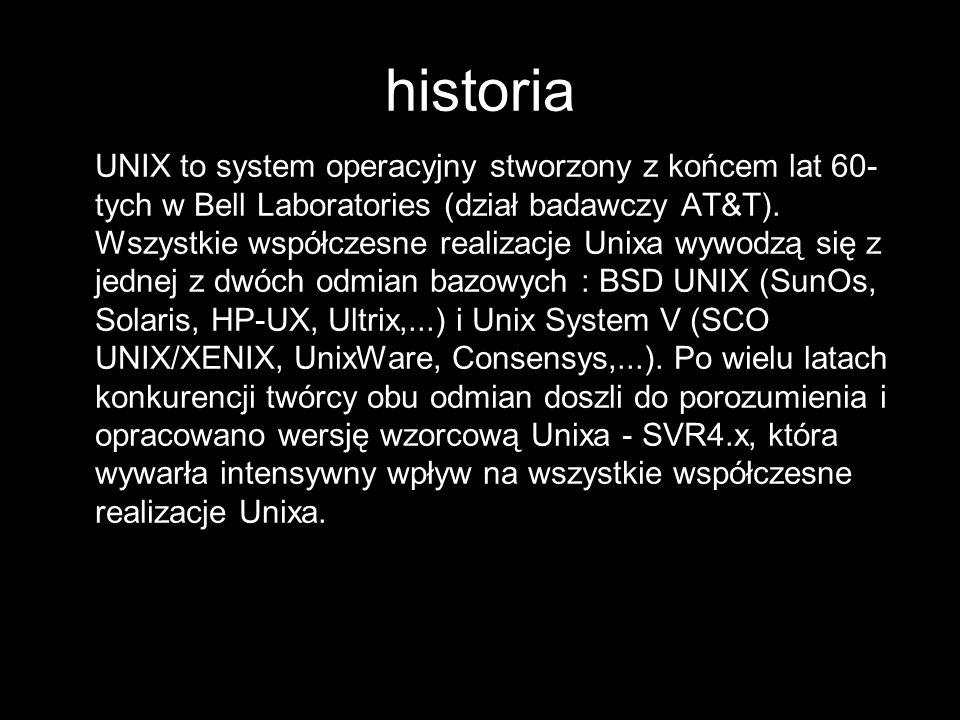 ORGANIZACJA SYSTEMU PLIKÓW W SYSTEMIE UNIX System UNIX posiada hierarchiczny system plików Wszystko w systemie UNIX jest traktowane jak plik: - dokumenty - pliki danych - urządzenia: mysz, klawiatura, etc.