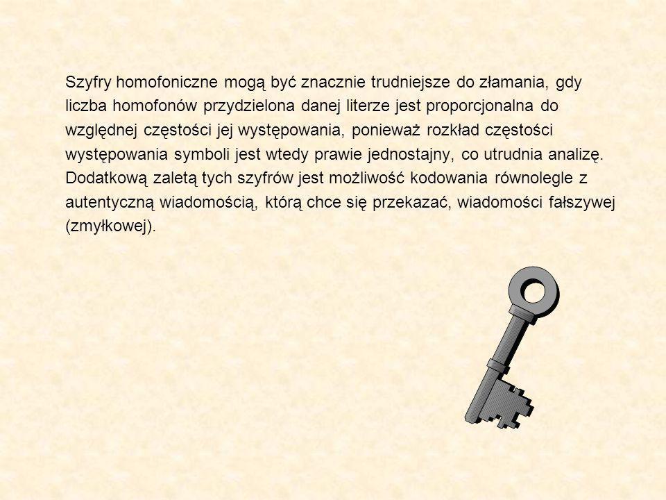 Szyfry homofoniczne mogą być znacznie trudniejsze do złamania, gdy liczba homofonów przydzielona danej literze jest proporcjonalna do względnej często