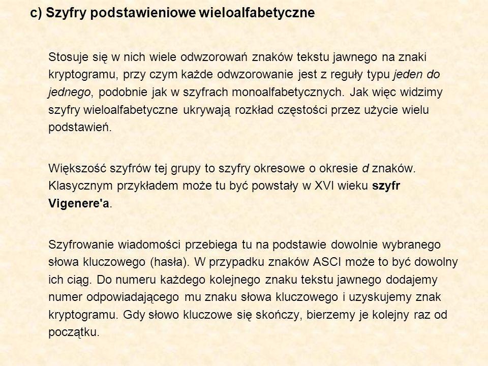 c) Szyfry podstawieniowe wieloalfabetyczne Stosuje się w nich wiele odwzorowań znaków tekstu jawnego na znaki kryptogramu, przy czym każde odwzorowani