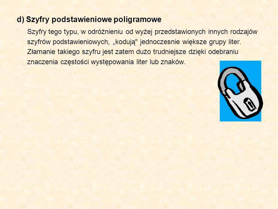 d) Szyfry podstawieniowe poligramowe Szyfry tego typu, w odróżnieniu od wyżej przedstawionych innych rodzajów szyfrów podstawieniowych, kodują