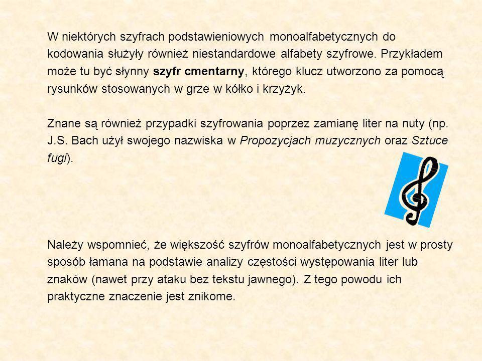 W niektórych szyfrach podstawieniowych monoalfabetycznych do kodowania służyły również niestandardowe alfabety szyfrowe. Przykładem może tu być słynny