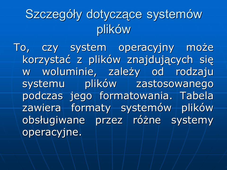 Szczegóły dotyczące systemów plików To, czy system operacyjny może korzystać z plików znajdujących się w woluminie, zależy od rodzaju systemu plików z
