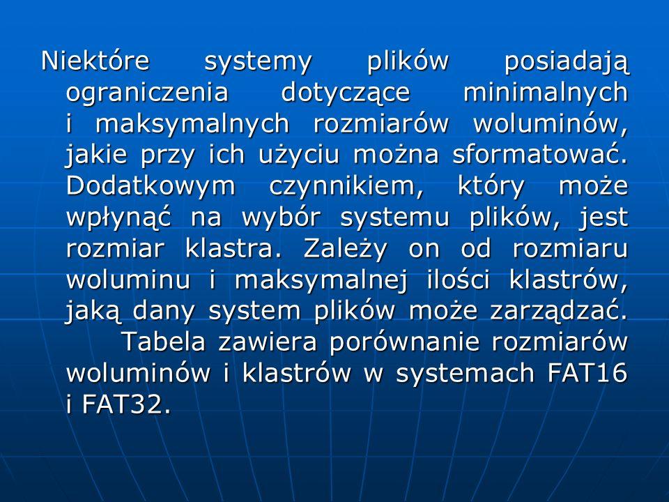 Niektóre systemy plików posiadają ograniczenia dotyczące minimalnych i maksymalnych rozmiarów woluminów, jakie przy ich użyciu można sformatować. Doda