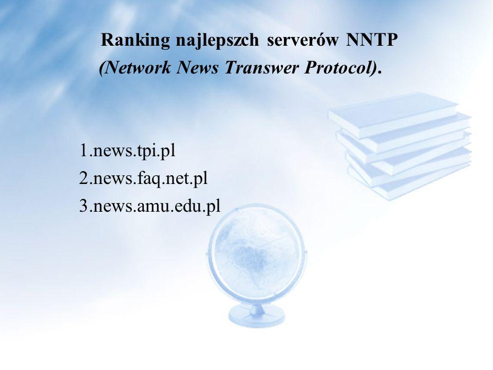 I wielu innych Opis serwerów NNTP Serwer grup dyskusyjnych (nntp) jest to typ serwera skonfigurowany na przyjmowanie postów (newsów), oraz pokazywanie