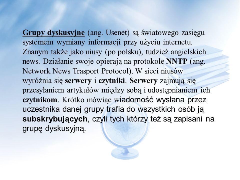 Krótka historia W latach 1997 i 1998 polski Usenet bardzo się rozwinął: zwiększyła się liczba grup i ich użytkowników, trwają długie dyskusje nad wpro