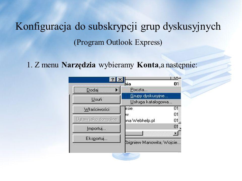 Konfiguracja do subskrypcji grup dyskusyjnych (Program Outlook Express) 1.