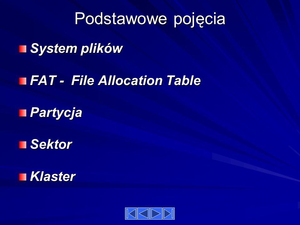 Podstawowe pojęcia System plików FAT - File Allocation Table PartycjaSektorKlaster