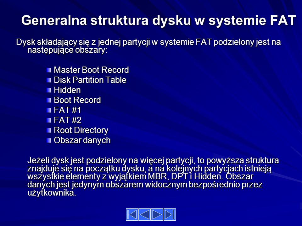 Generalna struktura dysku w systemie FAT Dysk składający się z jednej partycji w systemie FAT podzielony jest na następujące obszary: Master Boot Record Disk Partition Table Hidden Boot Record FAT #1 FAT #2 Root Directory Obszar danych Jeżeli dysk jest podzielony na więcej partycji, to powyższa struktura znajduje się na początku dysku, a na kolejnych partycjach istnieją wszystkie elementy z wyjątkiem MBR, DPT i Hidden.