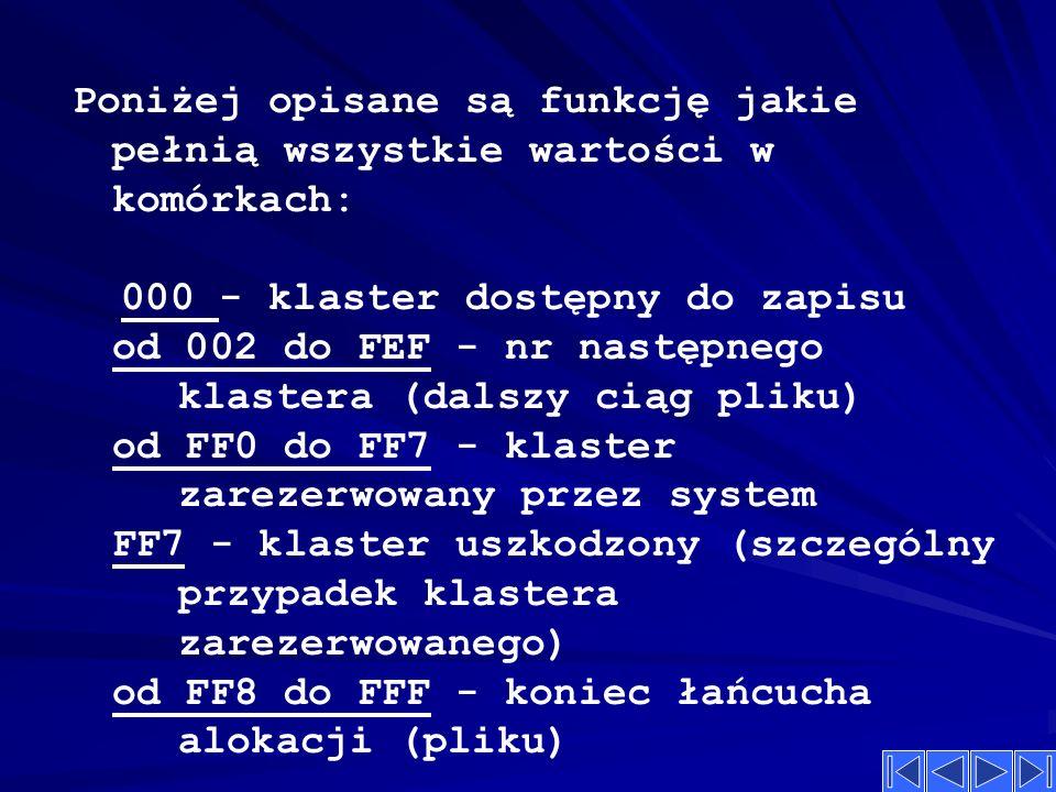 Poniżej opisane są funkcję jakie pełnią wszystkie wartości w komórkach: 000 - klaster dostępny do zapisu od 002 do FEF - nr następnego klastera (dalszy ciąg pliku) od FF0 do FF7 - klaster zarezerwowany przez system FF7 - klaster uszkodzony (szczególny przypadek klastera zarezerwowanego) od FF8 do FFF - koniec łańcucha alokacji (pliku)