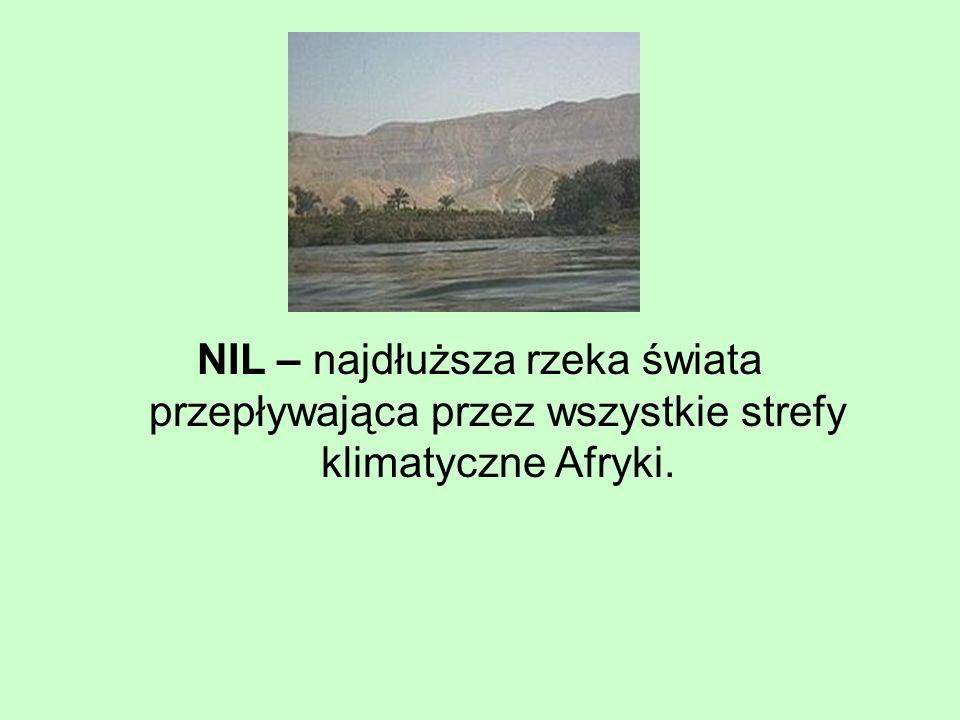 NIL – najdłuższa rzeka świata przepływająca przez wszystkie strefy klimatyczne Afryki.