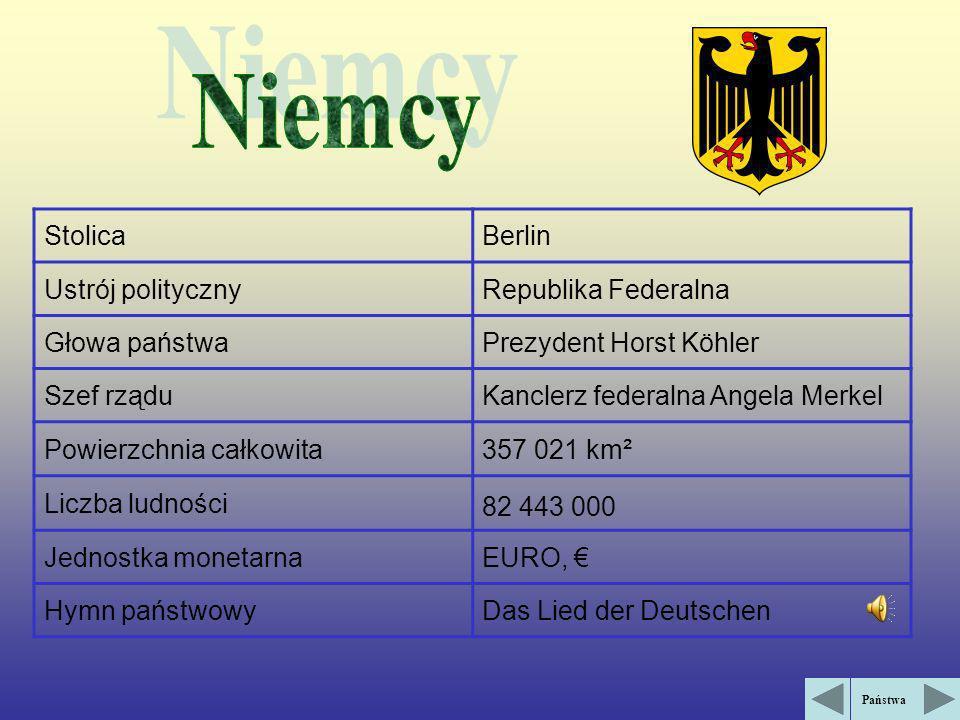 StolicaBerlin Ustrój politycznyRepublika Federalna Głowa państwaPrezydent Horst Köhler Szef rząduKanclerz federalna Angela Merkel Powierzchnia całkowita357 021 km² Liczba ludności 82 443 000 Jednostka monetarnaEURO, Hymn państwowyDas Lied der Deutschen Państwa