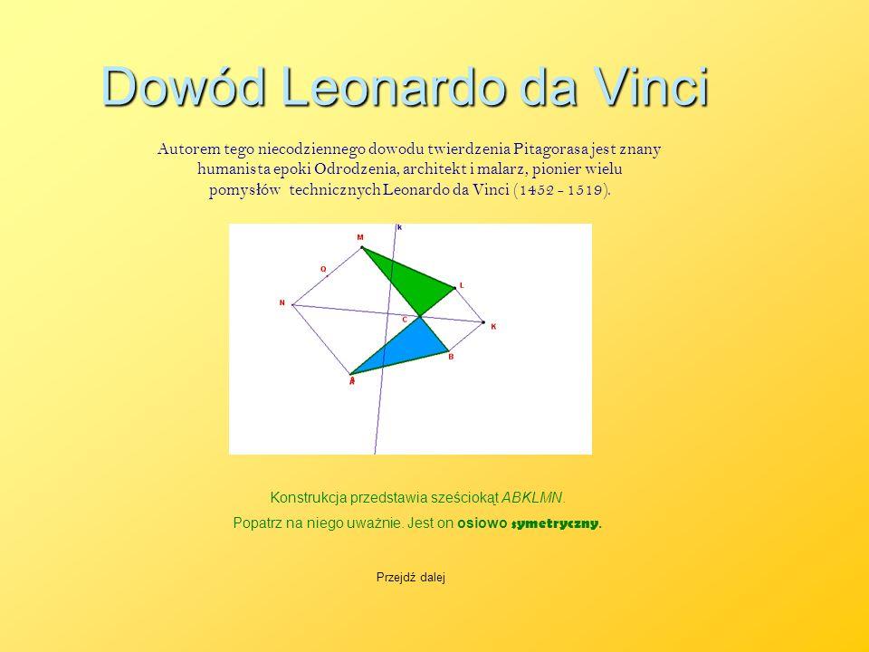 Dowód Leonardo da Vinci Autorem tego niecodziennego dowodu twierdzenia Pitagorasa jest znany humanista epoki Odrodzenia, architekt i malarz, pionier w